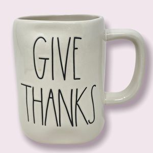 """RAE DUNN """"Give Thanks"""" Coffee Mug White with Black Letters"""
